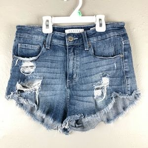 Eunina Lulu High Rise Cut Off Shortie Shorts Sz S